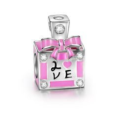 Ninaqueen 925 Sterling Silver 'Pink Aroma' Enamel 'Love' Inscription Enamel Charms Fit Pandora Bracelet >>> Want to know more, click on the image.