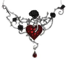 """Gothic Jewelry Diy """"Bed Of Blood Roses"""" Pendant by Alchemy of England - The heart is the seedbed of tangled emotions and condemned romance; black roses flourish in the heart's blood. Swarovski crystals sparkle from beneath the blood red enamel. Heart Jewelry, Crystal Jewelry, Pendant Jewelry, Pendant Necklace, Jewelry Necklaces, Gothic Necklaces, Enamel Jewelry, Jewelry Box, Silver Jewelry"""