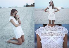 Lace Dress, Round Ray Bans