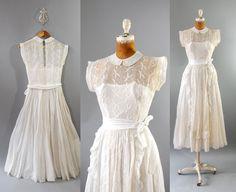 1940s Eyelet Dress / Gazebo Wedding Dress / by wildfellhallvintage