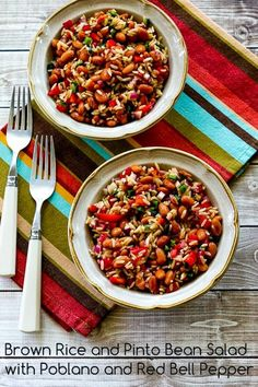 Brown Rice and Pinto Bean Salad with Poblano and Red Bell Pepper; perfect for Cinco de Mayo, or any time you need those Mexican flavors in your mouth! [from Kalyn's Kitchen] #Vegan #GlutenFree #MeatlessMonday