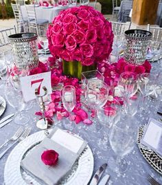 These bright pink centerpieces definitely make a statement!