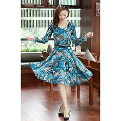 Women's Floral Casual Slim Dress – USD $ 29.39