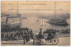 Marseille, l'entrée du Vieux Port et le Transbordeur.
