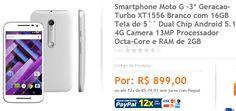 Moto G 3ª Geracao Turbo XT1556 16GB Tela de 5 Dual Chip 4G Camera 13MP Octa-Core << R$ 89900 em 12 vezes >>