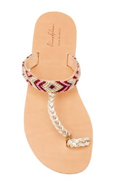 Leather & Cotton Dimitria Gold Sandal by ELINA LEBESSI for Preorder on Moda Operandi