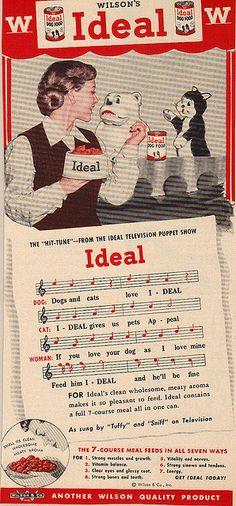 Old Ideal dog food magazine ad. Wilson & Company.