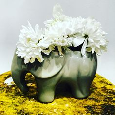 This sweet sweet elephant planter can be used as a vase like we are showing here, stuffed with flowers. Perfect for succulents or any small plants. Adorable in the nursery, the bathroom, the kitchen o