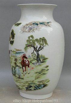17-Marked-Chinese-Color-Porcelain-12-Zodiac-Year-Animal-Flower-Bottle-Vase