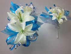 light blue corsage and boutonniere - Google Search