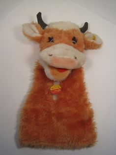 Udderly Fantastic Steiff Cow Hand Puppet Animal Hand Puppets, Felt Cake, Puppet Crafts, Sunday School, Farm Animals, Ideas Para, Lamb, Cow, Projects To Try