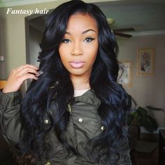 Black full sew in with side bang - Looking for Hair Extensions to refresh your hair look instantly? http://www.hairextensionsale.com/?source=autopin-thnew