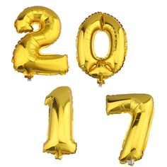 2017 Ballons Folienballons Luftballons Silvester Neujahr 40cm Zahlenballon Gold 40cm