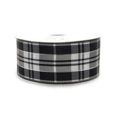 Plaid Checkered Wired Edge Ribbon, 1-1/2-inch, 10-yard, Black