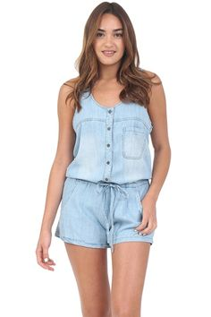 Denim Button Down Romper