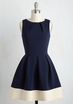 Luck Be a Lady Dress in Navy Contrast, @ModCloth