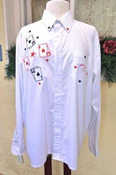 Hold 'Em or Fold 'Em Embroidered Poker Dress Shirt L/16-16.5 Costume Tournament #WayneScott