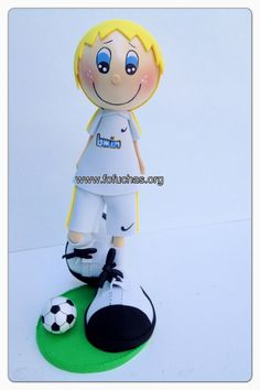 Fofucho Soccer player. Handmade using foam sheets. Stands at 12 inches tall. Can be made in colors of your childs uniform. And can be personalized. Perfect gift for your little soccer player. To order visit fofuchas.org or like us on facebooks.com/fofuchashandmadedolls  #soccer  #fofuchas #crafts