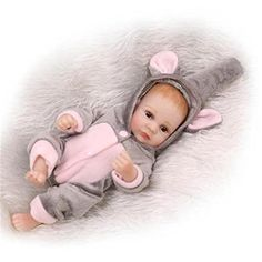 SanyDoll Lifelike New Baby Alive Twins Washable Full Silicone Doll Toys Gift 11inch 25cm Grey elephant shape >>> You can find out more details at the link of the image.Note:It is affiliate link to Amazon.