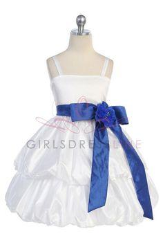 White/Royal BlueTaffeta Flower Girl & Jr. Bridesmaid Dress CD-578-RB $52.95 on www.GirlsDressLine.Com