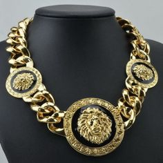 Three Head Lion Necklace Chunky Chain Link Pendant Punk Bib Choker Statement Hot #Estone #Statement