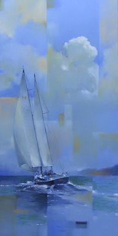 "Richard Johnson ~ ""Racing In The Wind"" ~ Oil on Canvas  36x18"