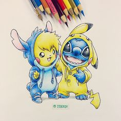 Artist: Itsbirdy | Pikachu | Stitch OH MY... this.. this is adorable... * . * <3