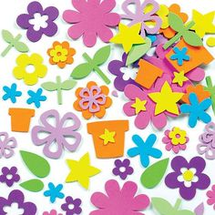 Baker Ross Flower Garden Foam Stickers for Children to Decorate Cards Collages Scrapbooking & Other Crafts Projects (Pack of Mothers Day Crafts, Easter Crafts For Kids, Children Crafts, Craft Kits, Craft Projects, Collages, Pop Out Cards, Pom Pom Decorations, Easter Stickers