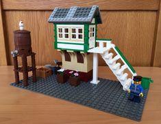 Lego Train Station, Lego Trains, Lego Modular, Lego Architecture, Lego House, Legos, Buildings, Houses, Outdoor Decor
