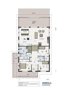 Pohjapiirros Herrala Kivenpoika One Storey House, House On A Hill, My Dream Home, Future House, Bungalow, House Plans, Sweet Home, Floor Plans, Cottage