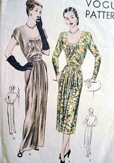 1940s  EVENING GOWN DRESS PATTERN VOGUE 6095