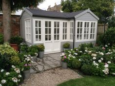 The Summerhouse (into bay)x Garden Projects, Garden Ideas, Outside Patio, Garden Studio, Lake Houses, Tiny Houses, Cottage Living, Sheds, Garden Inspiration
