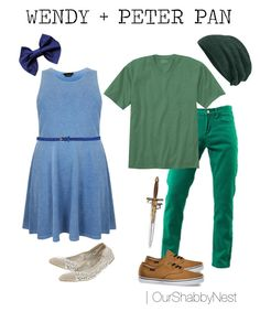 """Couples Costumes: Wendy + Peter Pan"" by ourshabbynest on Polyvore"