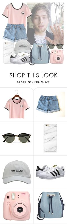 """pastels // l.h."" by maritomlinsonoutfits ❤ liked on Polyvore featuring Levi's, Ray-Ban, adidas Originals and INC International Concepts"