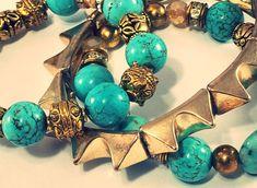 NWT  Turquoise And Gold Beaded Stacking Bracelet Set Of 3  By LexiLeeRocks #LexiLeeRocks #BeadedFriendship