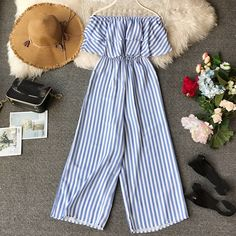 Online Shop Fashion 2019 Women Summer Off Shouder Striped Long Trousers Jumpsuit Casual Wide Leg Jumpsuit Summer Ruffles Beach Rompers Jumpsuits For Girls, Long Jumpsuits, Rompers Women, Girls Fashion Clothes, Teen Fashion Outfits, Cute Casual Outfits, Stylish Outfits, Casual Jumpsuit, Girl Clothing
