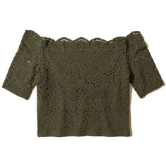 Hollister Off-The-Shoulder Lace Crop Top (£9.96) ❤ liked on Polyvore featuring tops, olive lace, army green crop top, lace crop top, lace off the shoulder top, lacy tops and olive green top