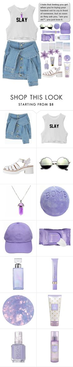 """""""*purple tears*"""" by my-black-wings ❤ liked on Polyvore featuring Lily White, Holga, Clinique, Calvin Klein, Tatcha, SpaRitual, Essie and AERIN"""
