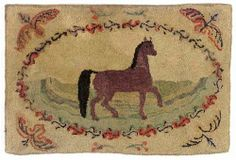 Hooked Rug ... Horse ... Wool & Cotton