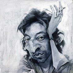 l'art blog de Jeff Stahl: Serge Gainsbourg caricature, by Jeff Stahl