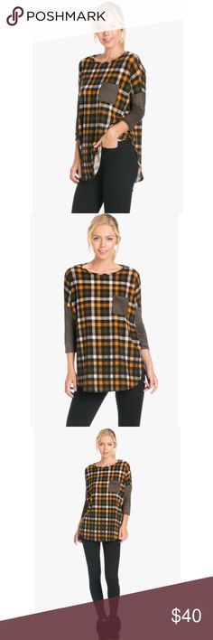 😍 Pattern Pocket Sleeve Detailed Top😍 This top is SUPER cute & comfortable! The color is orange & olive ! 95% Polyester & 5% Spandex ! I have 1 small, 1 medium & 1 large ! They are true to size ! 📦FAST SHIPPING📦😍 Tops Blouses