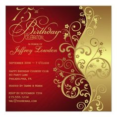 437 best red gold birthday party invitations images in 2018