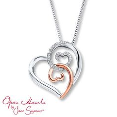 Jane Seymour Open Hearts Rose Gold and Diamond Necklace Heart Jewelry, Cute Jewelry, Heart Shaped Necklace, Sterling Necklaces, Valentines Jewelry, Gold Accessories, Diamond Pendant, Jewelry Collection, Pendant Jewelry