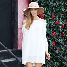 Schulterfreies Kleid mit langen Ärmeln - Jetzt reduziert bei Lesara