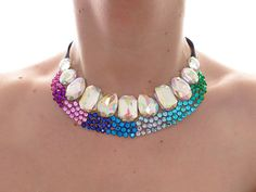 Jeweled Ombre Statement Necklace, Peacock Colors, Colorful Rhinestone Bridesmaid Necklace, Rhinestone Statement Jewelry