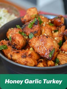 Spice up your week with @relishthebite's Honey Garlic Turkey recipe.  This sticky, crispy and healthy turkey goes perfectly on top of jasmine rice! Turkey Recipes, New Recipes, Jasmine Rice, Spice Things Up, Chicken Wings, Recipe Ideas, Garlic, Spices, Honey