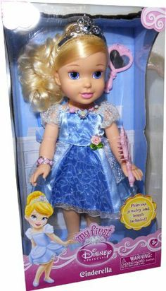 My First Disney Princess - Cinderella by Tollytots limited. $33.99. Includes one each... Cinderella doll, glittering princess dress with one pair matching shoes, tiara, bracelet, necklace, brush and mirror.. Cinderella is approximately 14 inches tall.. My First Disney Princess Cinderella Doll, includes princess jewelry and brush.. My First Disney Princess Cinderella Doll. Includes one each... Cinderella doll, glittering princess dress with one pair matching shoes, tiara, ...