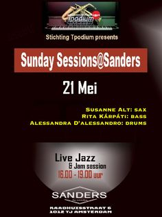 Welcome to the official website of Susanne Alt - Live - Susanne Alt Trio at Sunday Sessions, Cafe Sanders, Amsterdam 16-19h