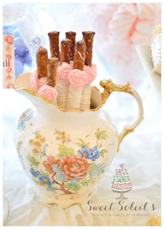Pretty pretzel rods at a vintage shabby chic birthday party! See more party planning ideas at CatchMyParty.com!