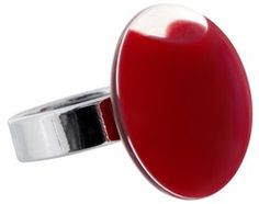 keladeco.com - #Bague mini #galet milk rouge foncé, bague en #verre - PYLONES